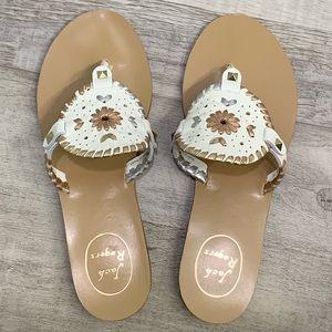 Jack Rogers Georgica Thong Sandals -White Metallic